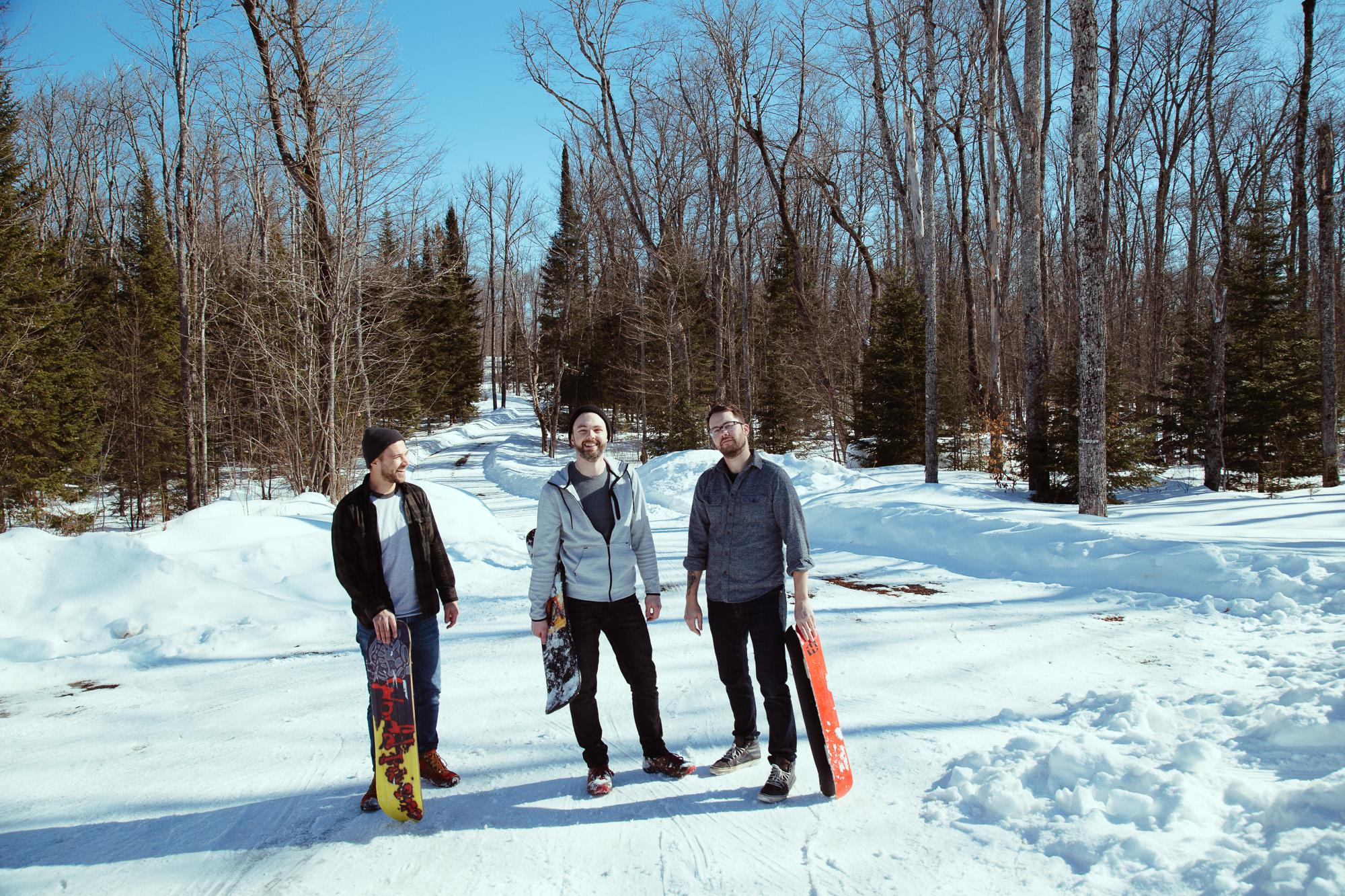 Men with snow skates