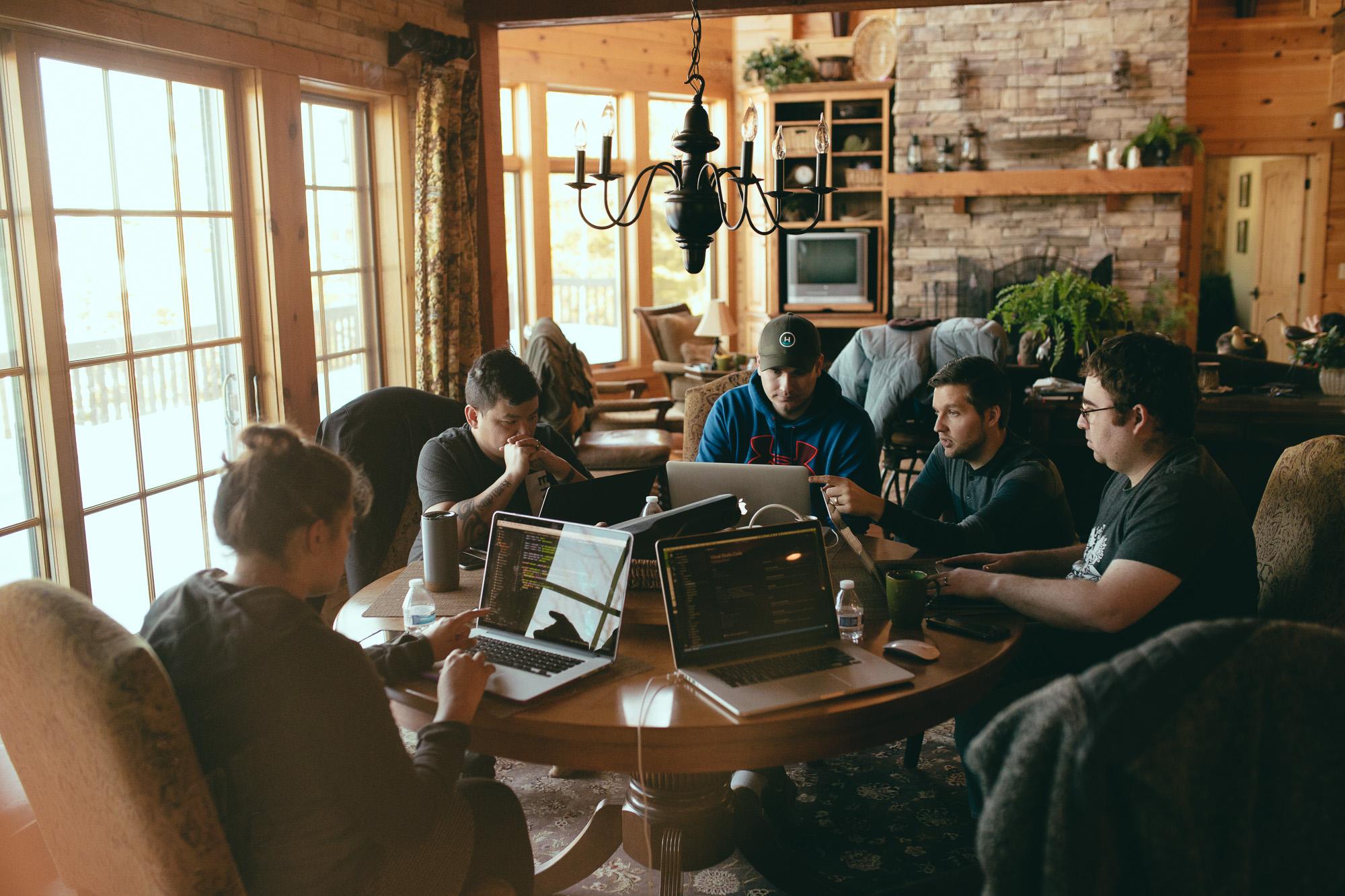 Group work around table
