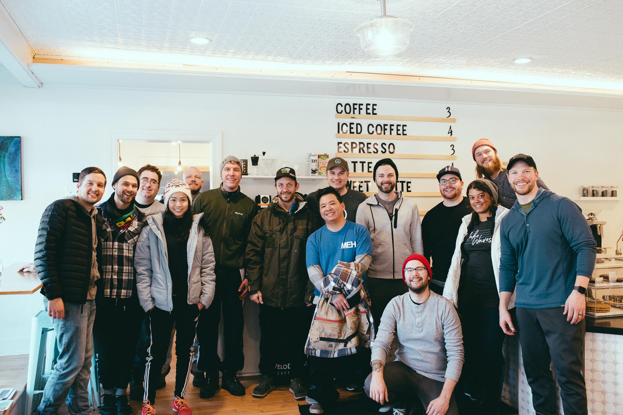Group photo at coffee bar