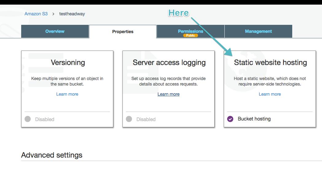 Click on static website hosting