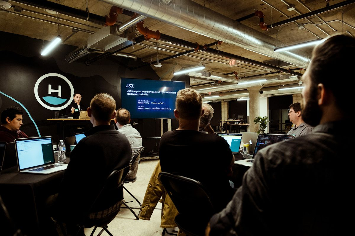 developer teaching community about react javascript at Headway office