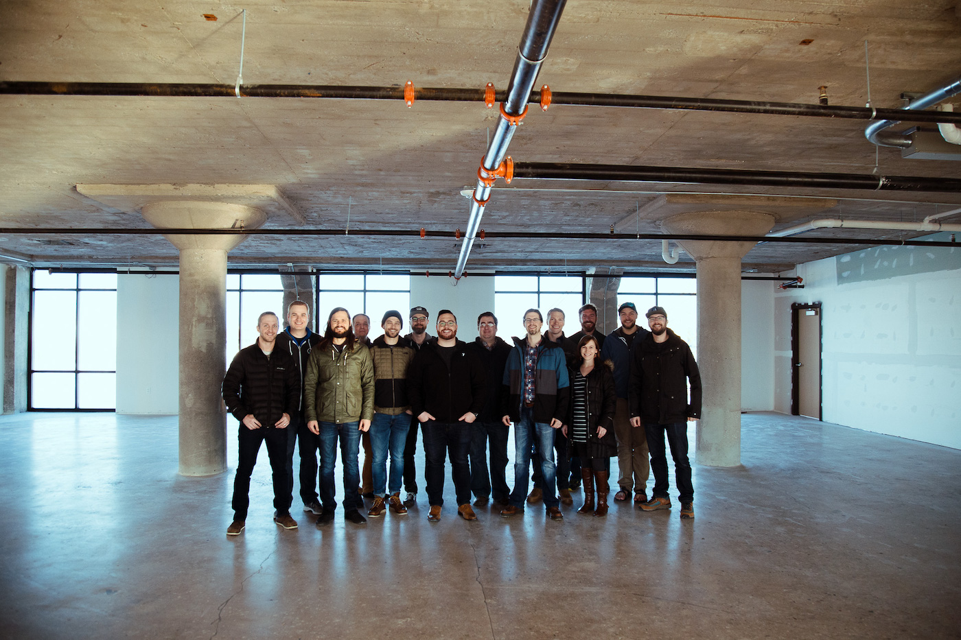 group team picture in new space