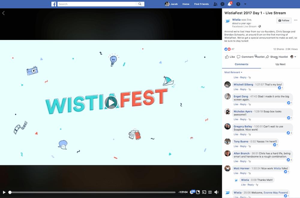 wistia live stream facebook