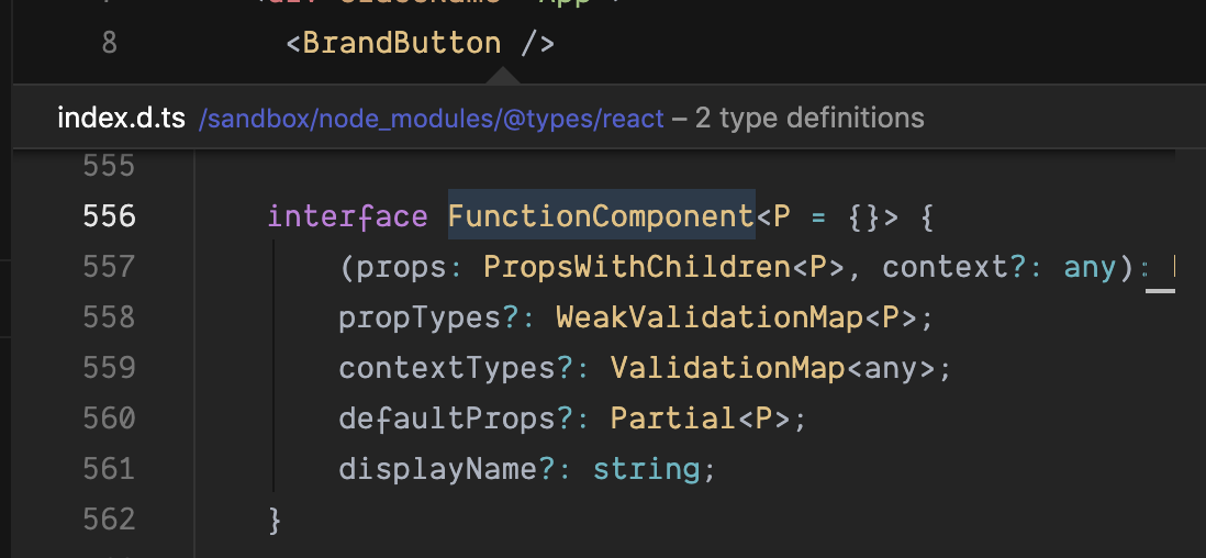screenshot of typscript code for functioncomponent
