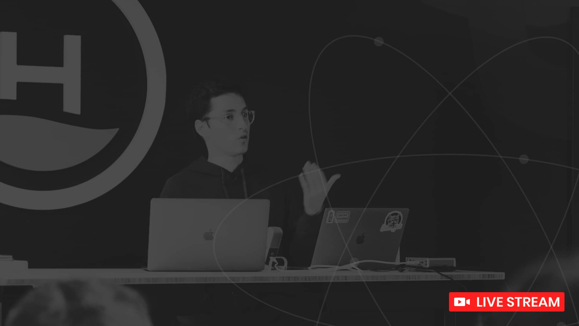 graphql event promo image with person speaking