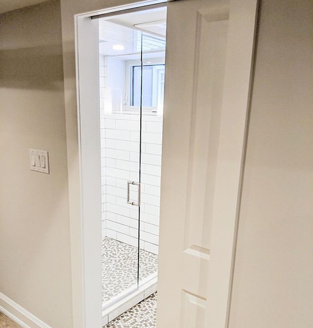 picture of bathroom with pocket door