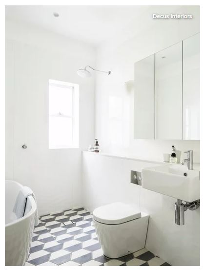 small bathroom with a feature floor