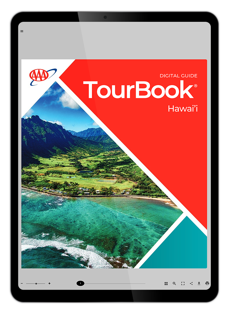 Hawaii Tourbook Cover on an Ipad over Background