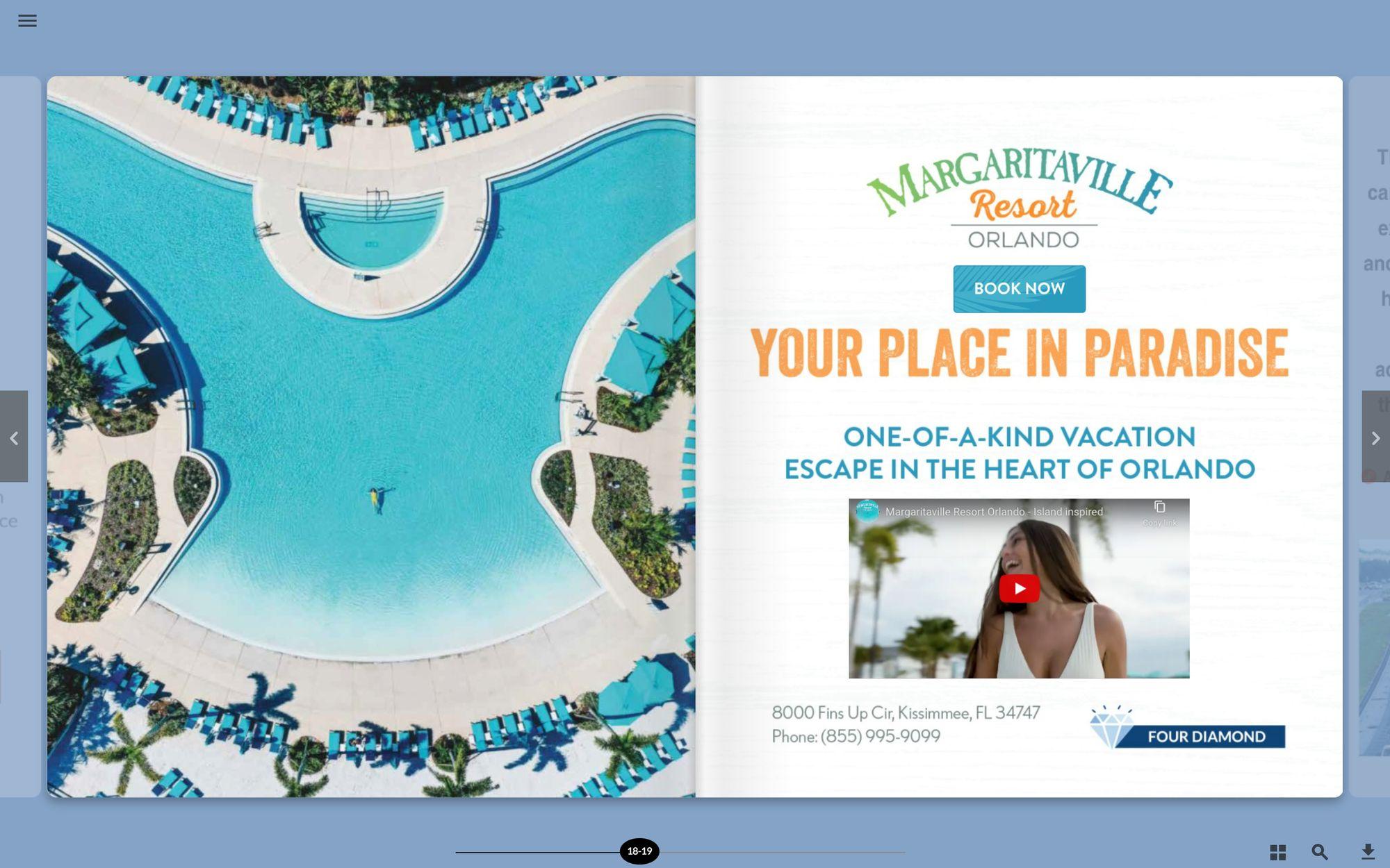 Margaritaville Ad on a Digital Tourbook
