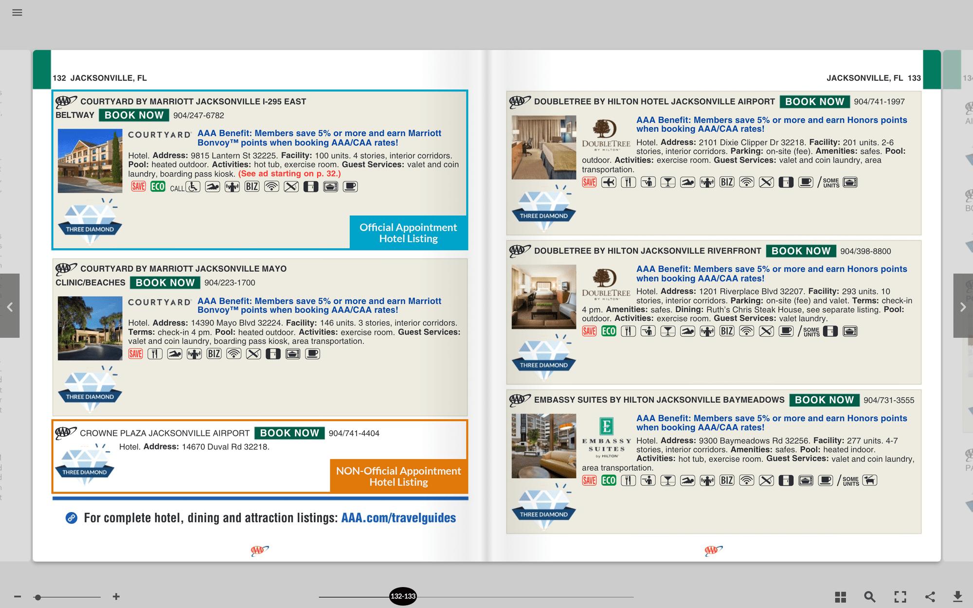 AAA TOURBOOK DISPLAY Lodging Ads