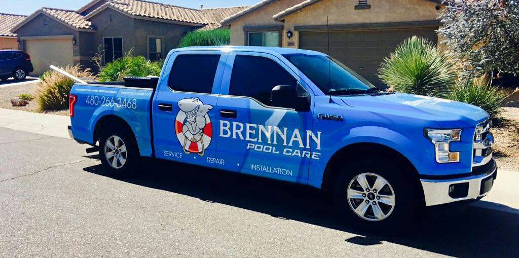 Brennan Pool Care truck in Queen Creek, AZ