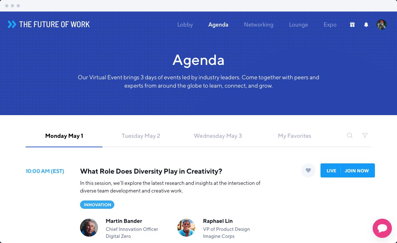 Virtual Events Software Agenda