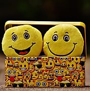 Two smiley faces in a box.