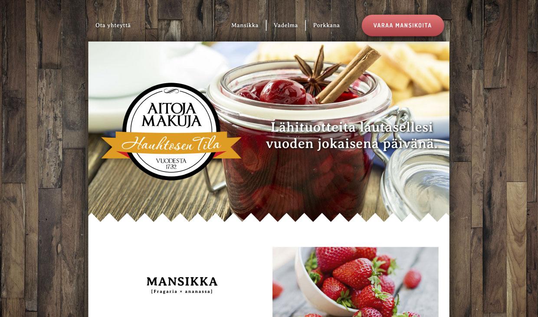 Website for Hauhtosen tila by Samuli Jokinen
