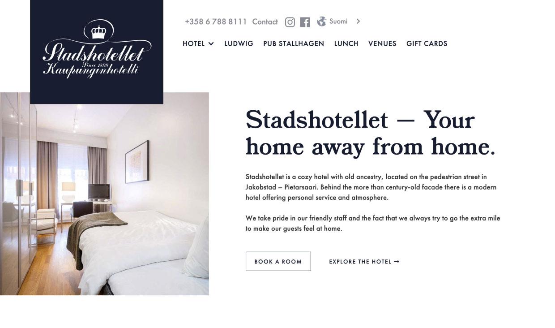 Website for Stadshotellet by Samuli Jokinen