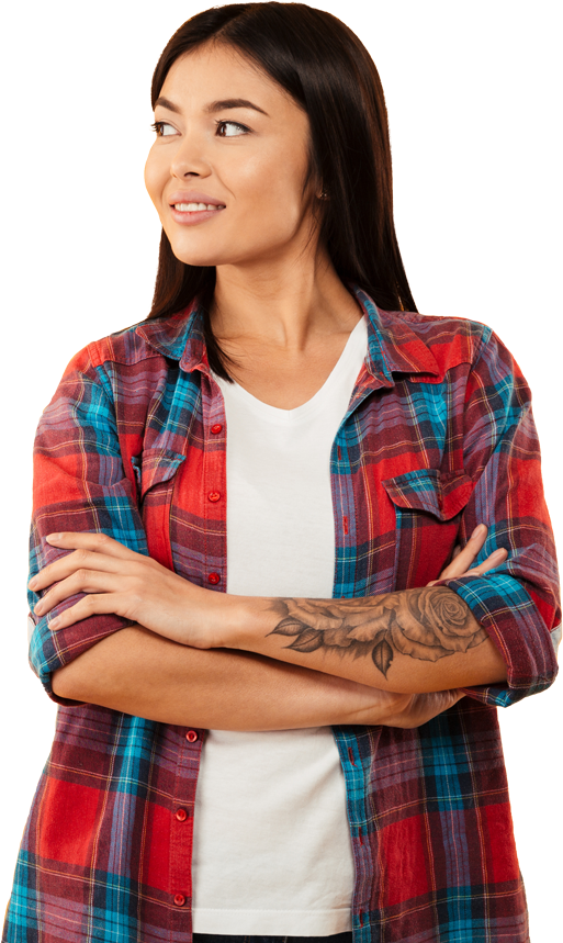 Woman with Plaid Shirt