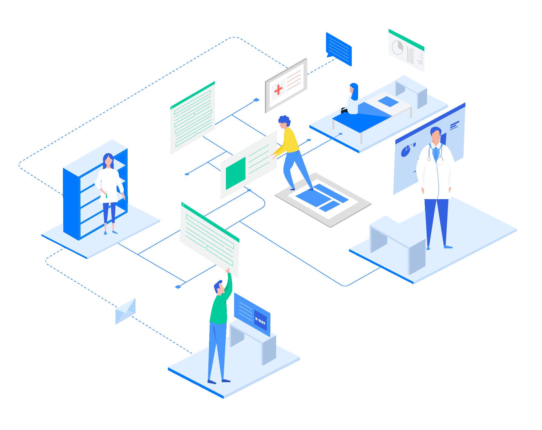 El sistema EHR para hospitales se conecta con otros sistemas de salud