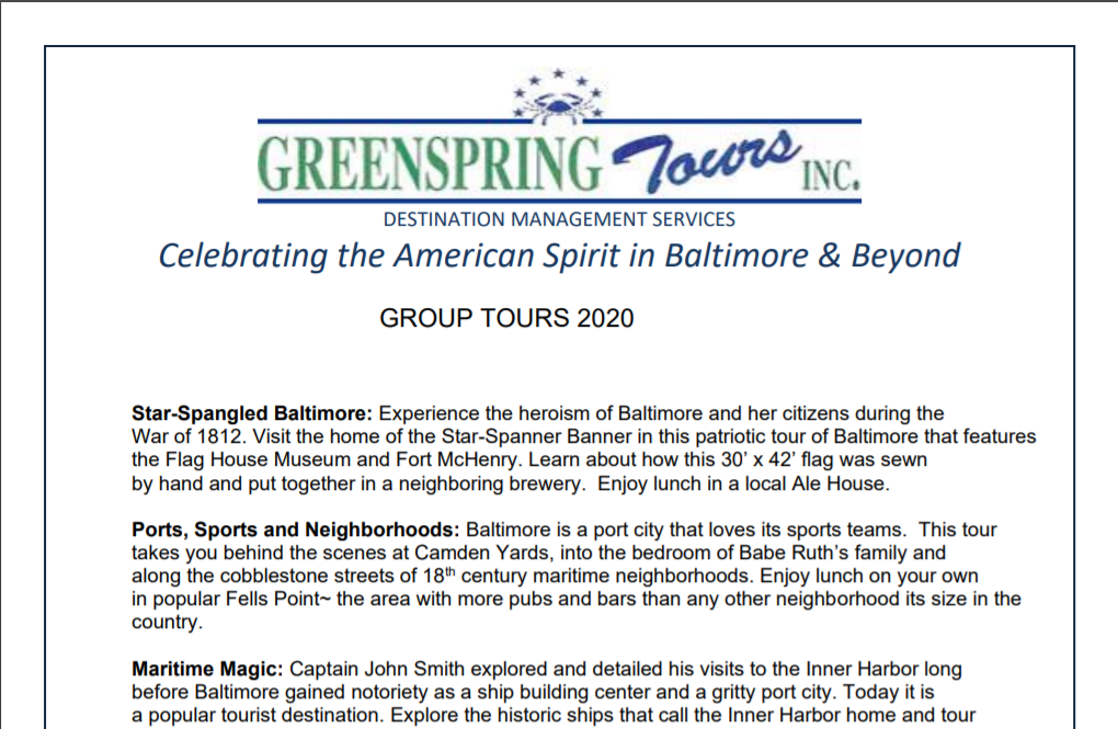 Let Greenspring Tours create the perfect experience for your group's next outing.