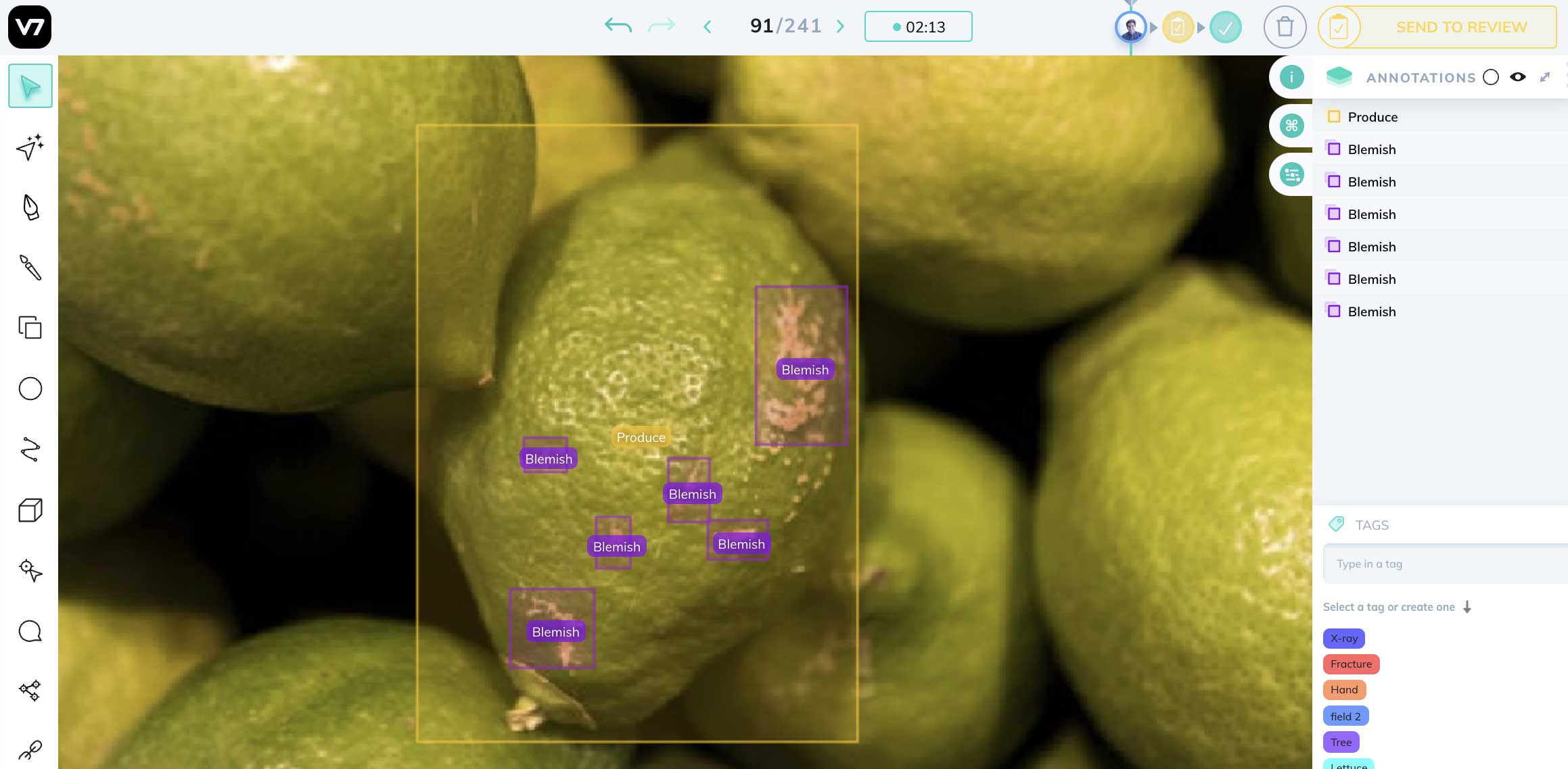 defect inspection AI demo on fruit