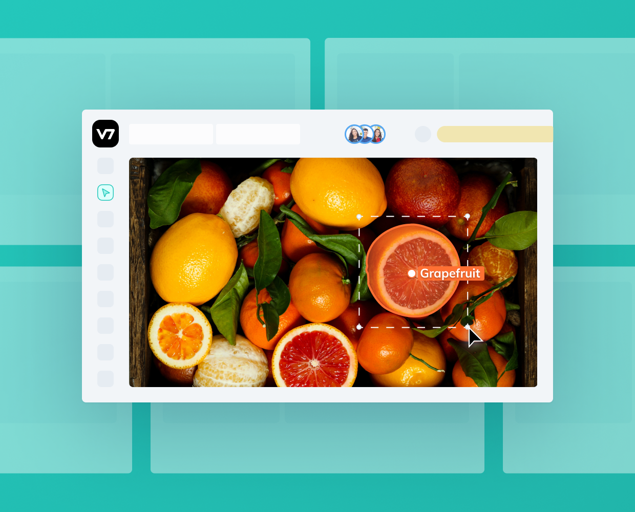 Annotation of a grapefruit in V7 dashboard