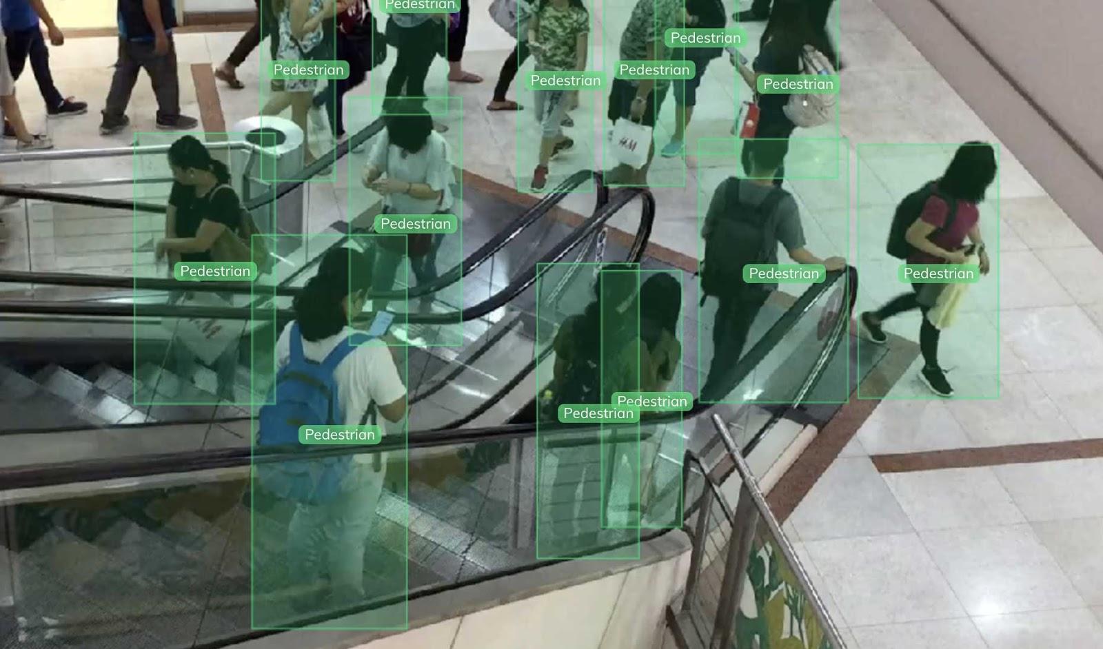 Pedestrian detection in a mall using V7