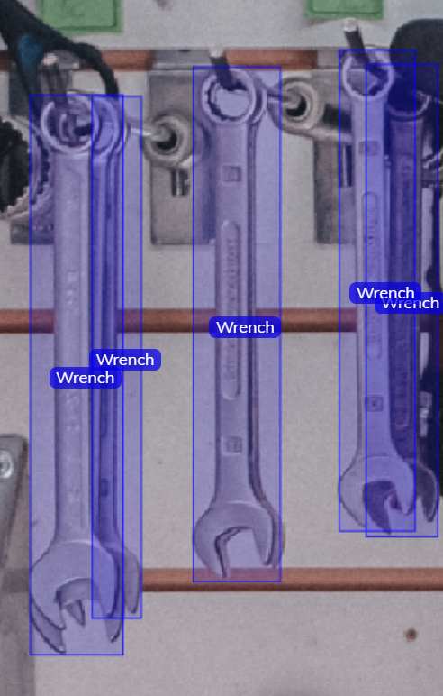 Wrenches annotated with boundng boxes