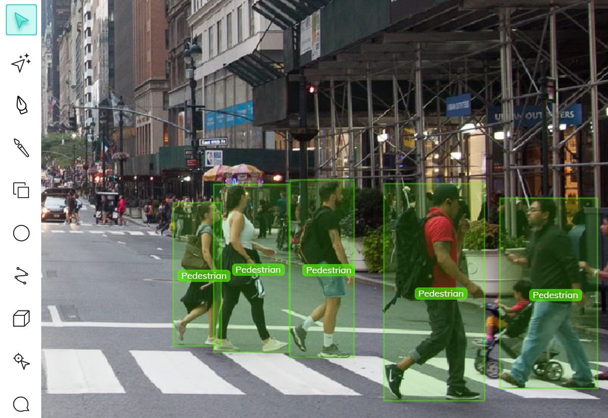 Bounding box annotation of pedestrians in the street for pedestrian detection