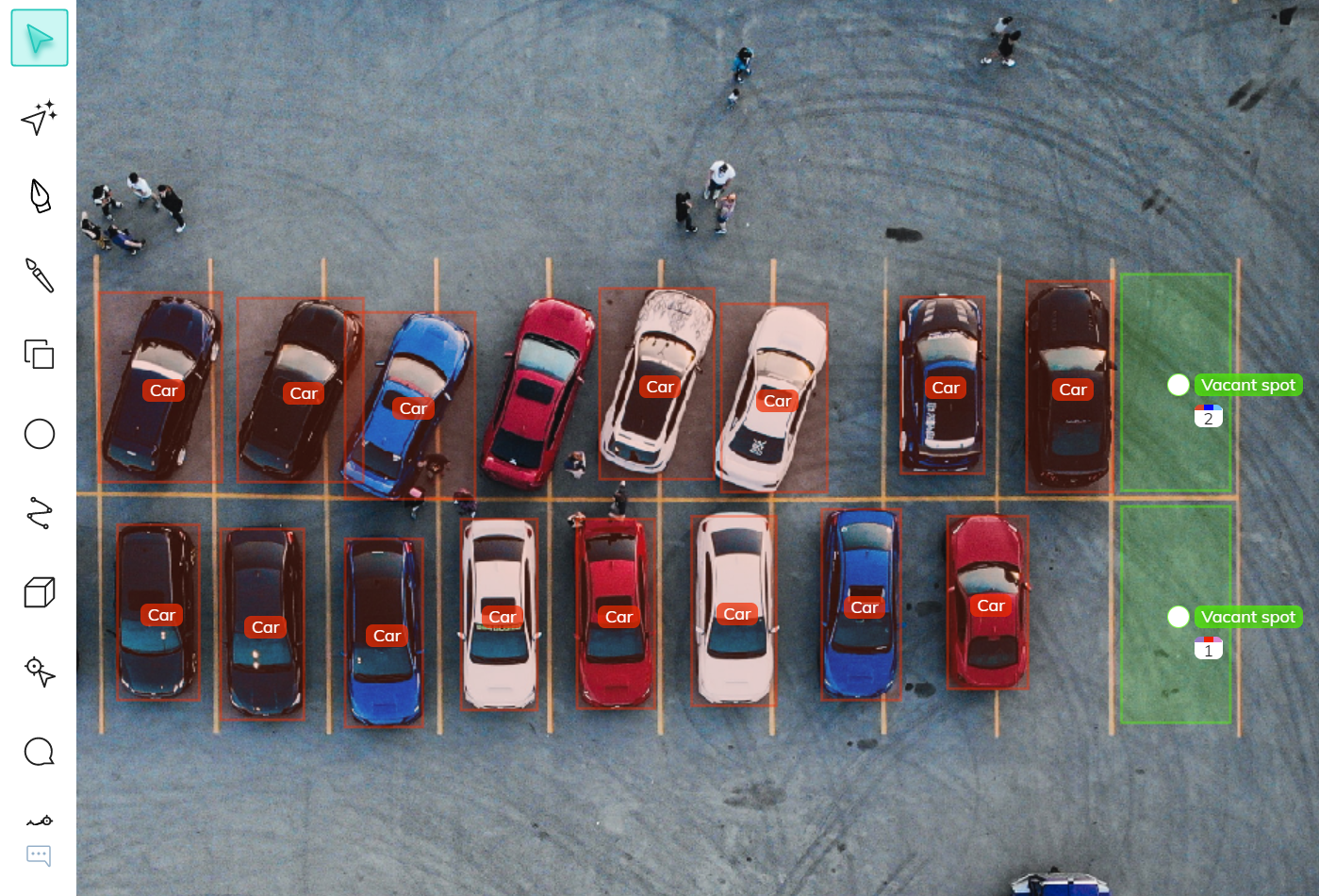 Bounding box annotations of cars and vacant parking spots for parking occupancy detection