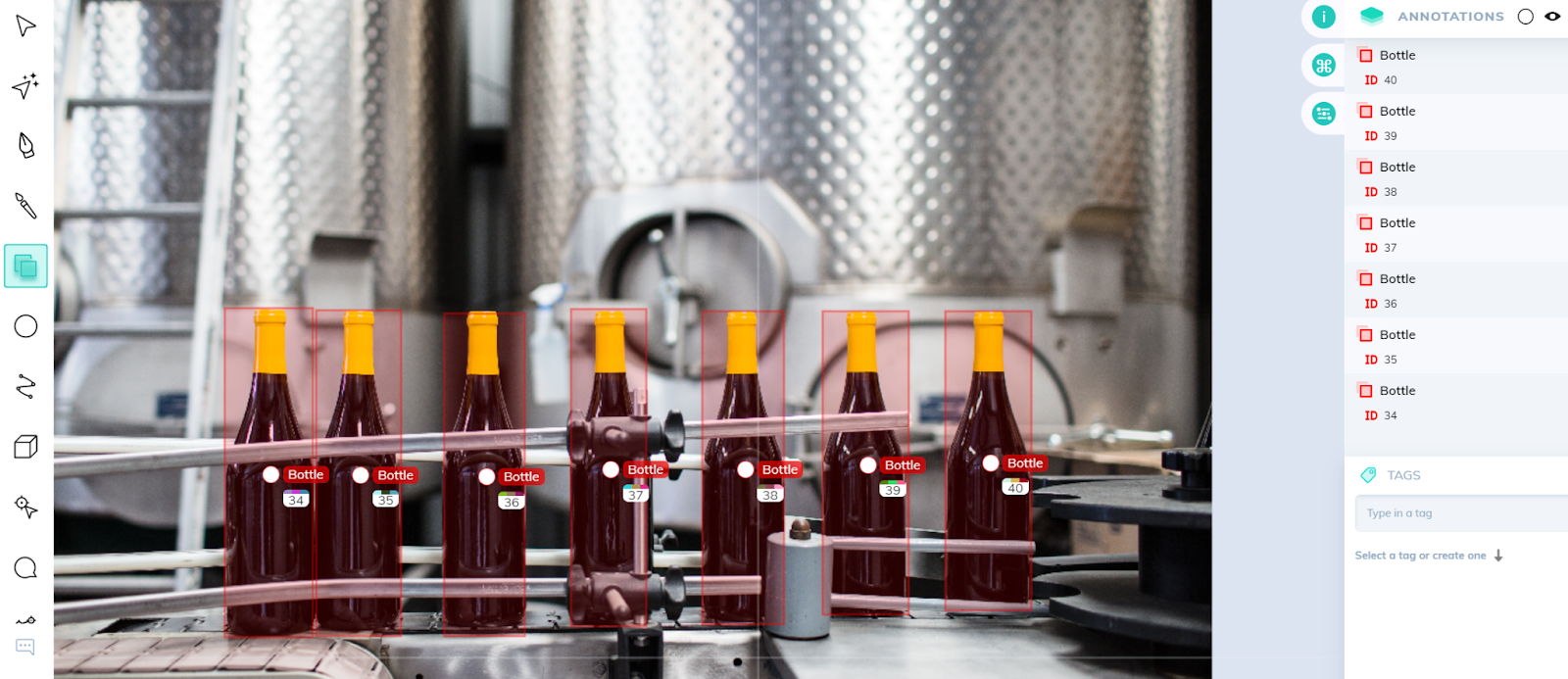 Bounding boxes applied to bottles in a product assembly line
