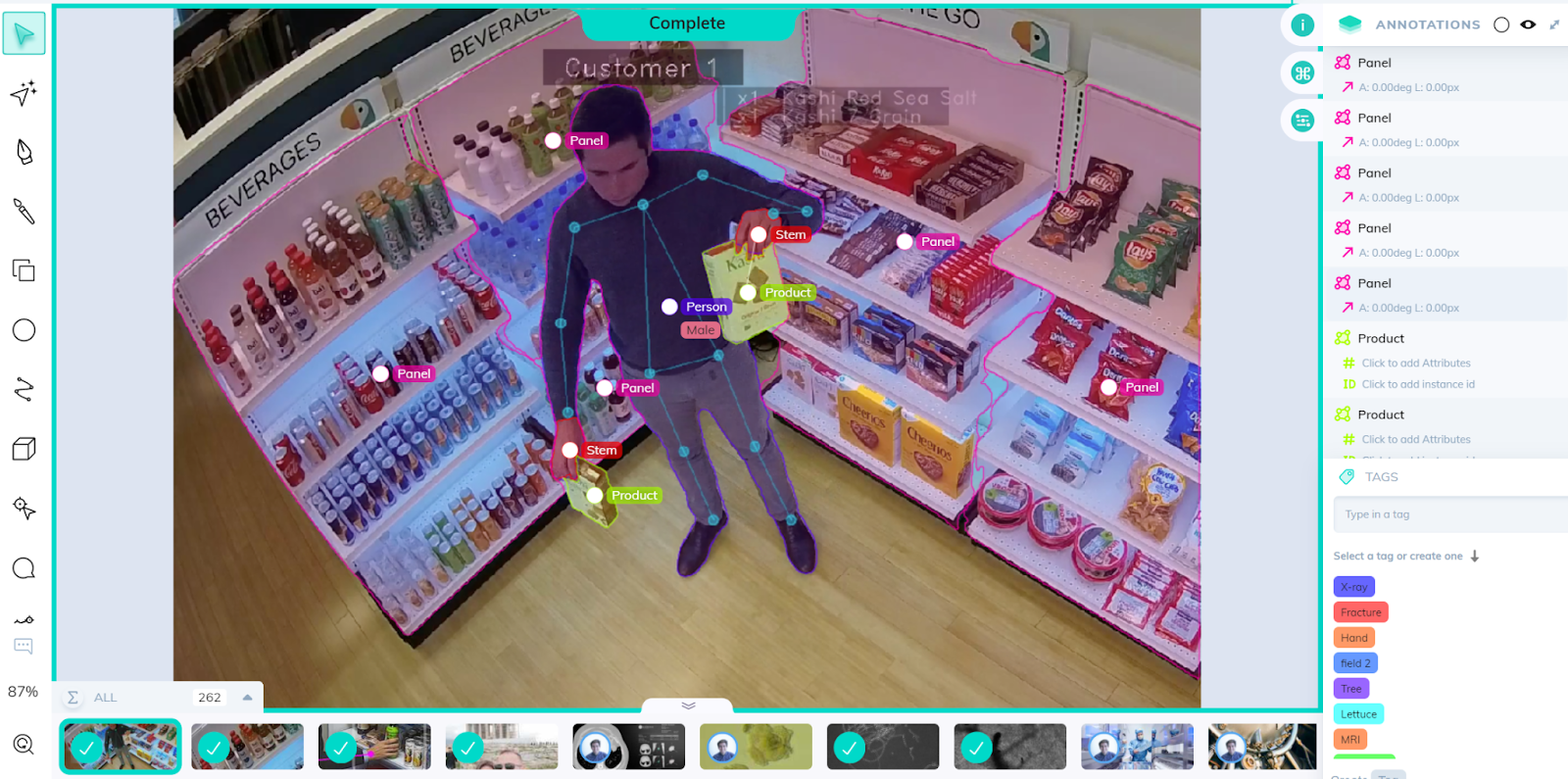 Person and product detection in a store using CCTV camera footage.