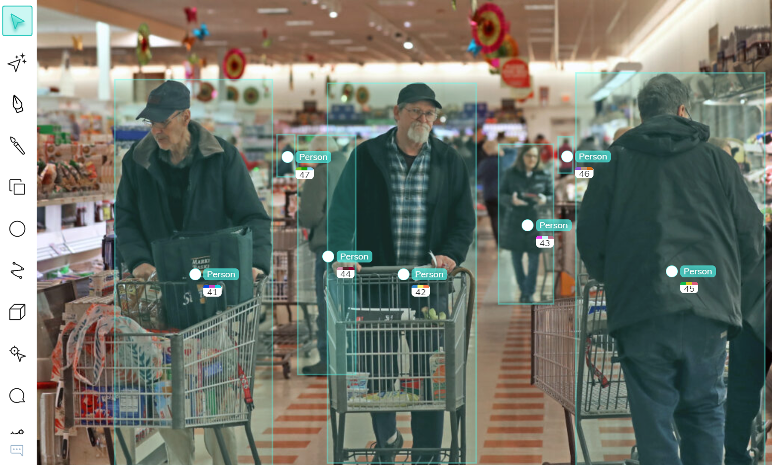 Bounding box annotations of customers in a supermarket for foot traffic and people counting using computer vision