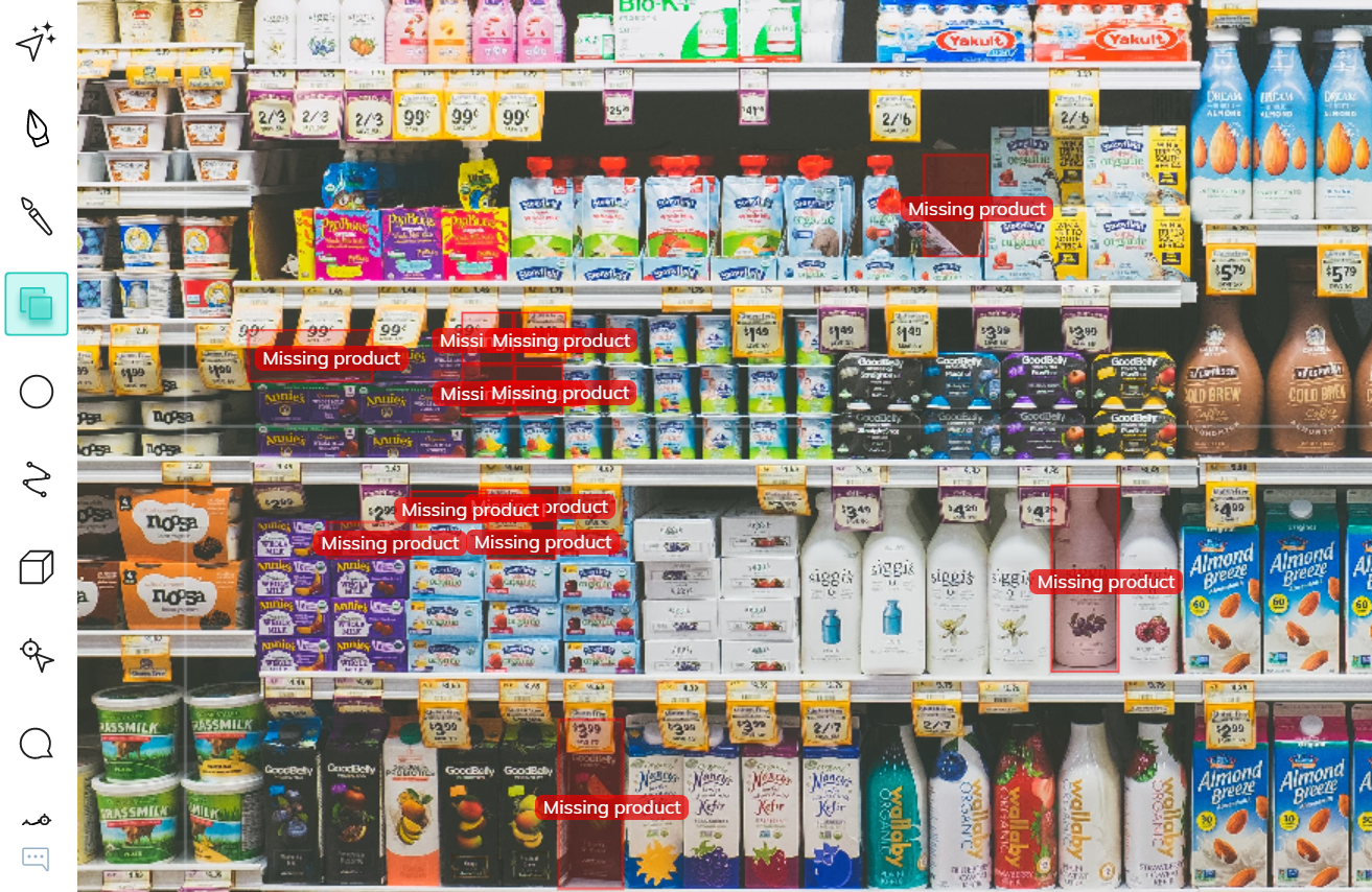 Bounding box annotations of missing products on a shelf in a store for automatic replenishment.