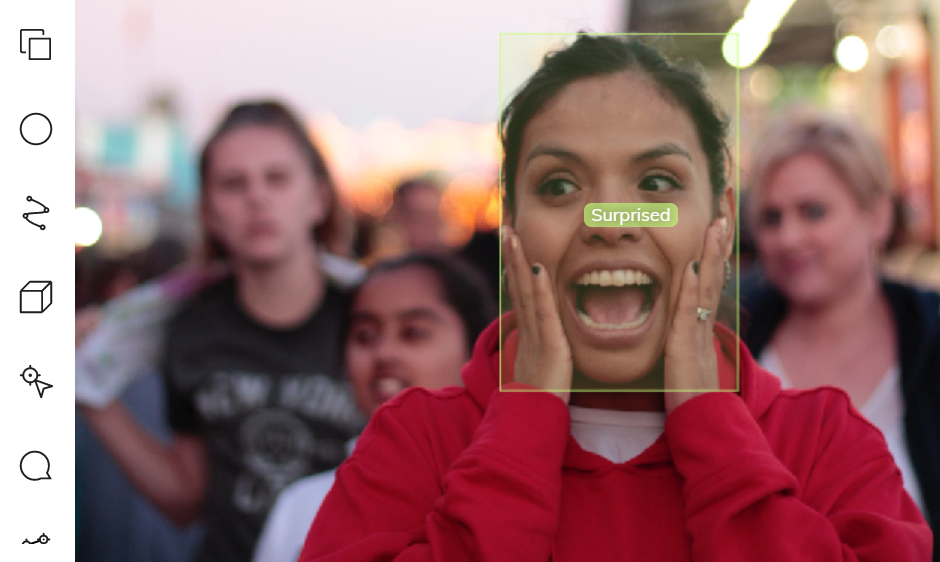 Emotion recognition of a surprised young woman using bounding boxes