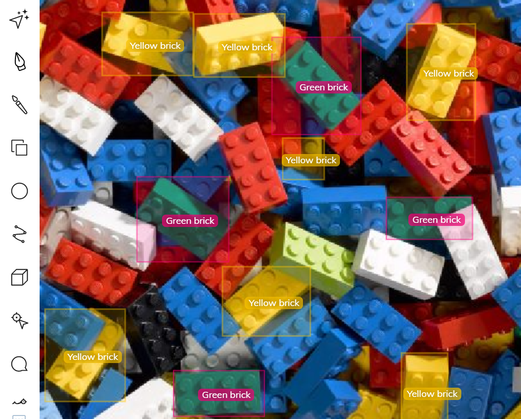 LEGO brick finder using color recognition and detection