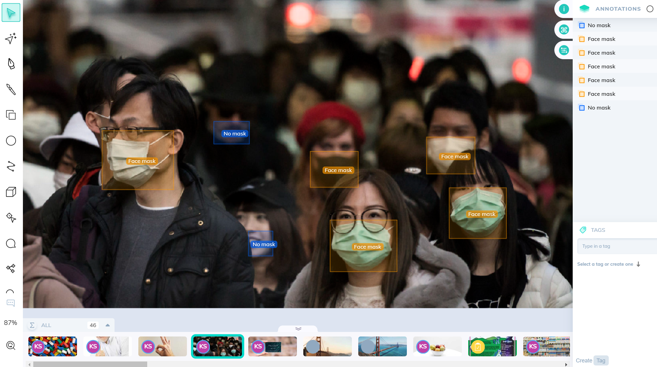 Face mask detection in a crowd using V7