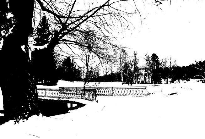 A park full of snow after applying the thresholding method