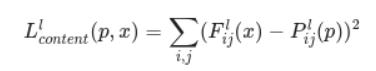 Content loss formula