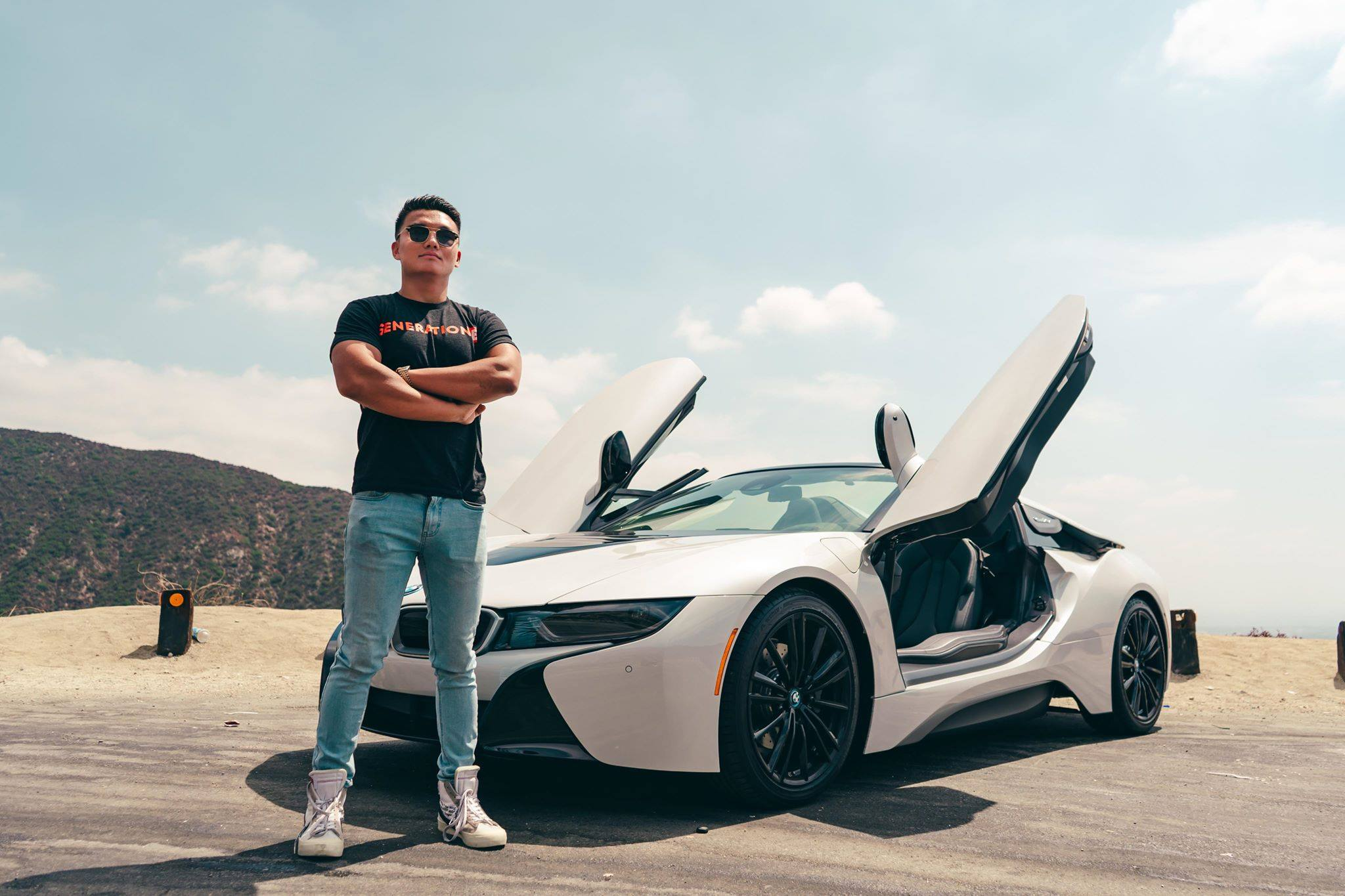 Kevin Zhang with a Lamborghini in Los Angeles