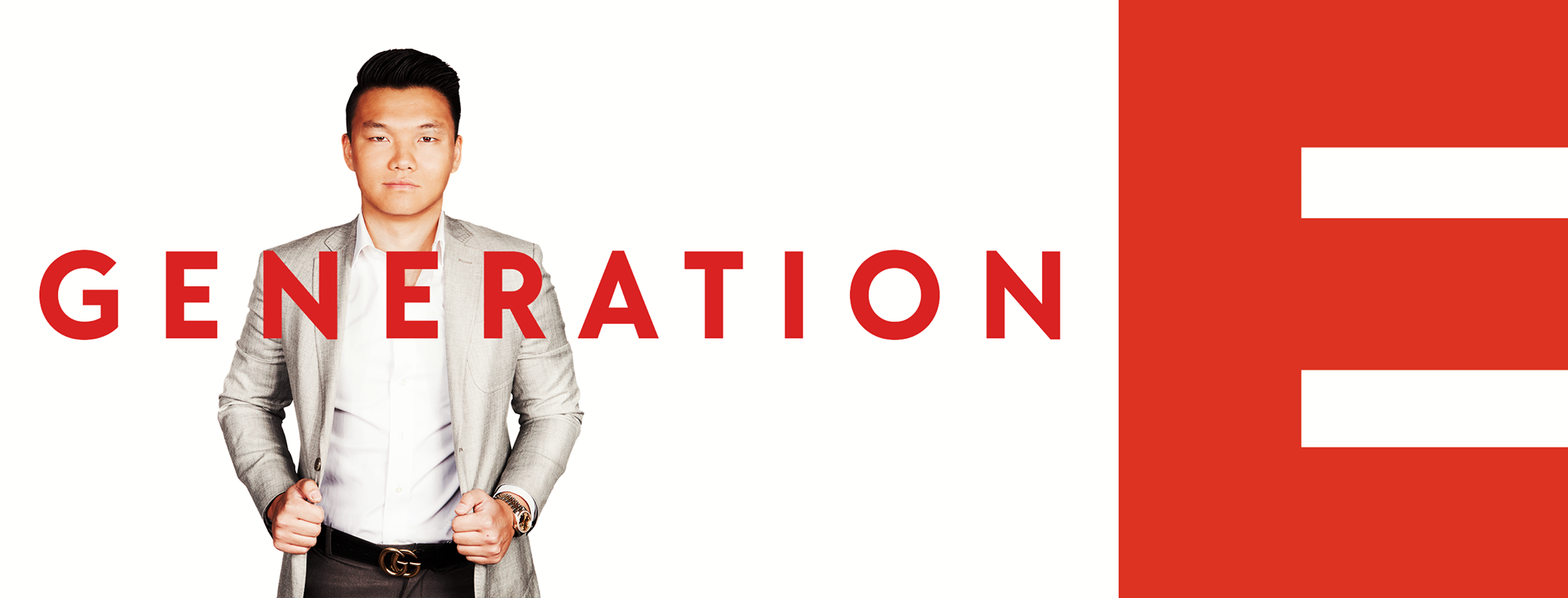 Website Banner of Kevin Zhang with a white background and  Generation E wrote in red