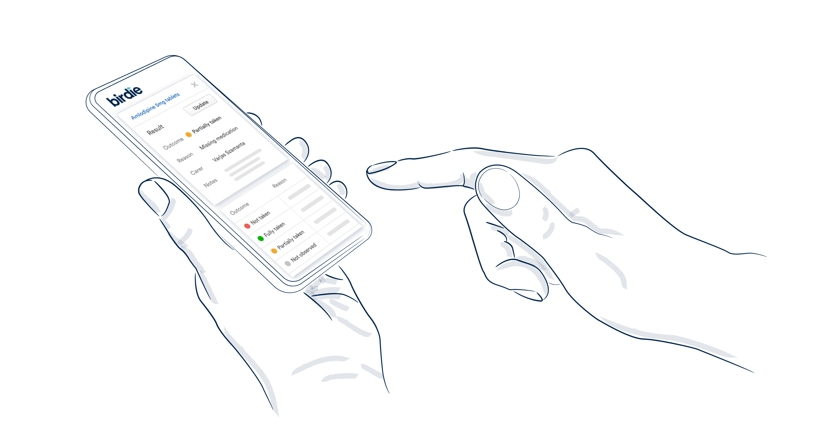 Illustrated hands holding a phone showing the Birdie App on the medication manager screen