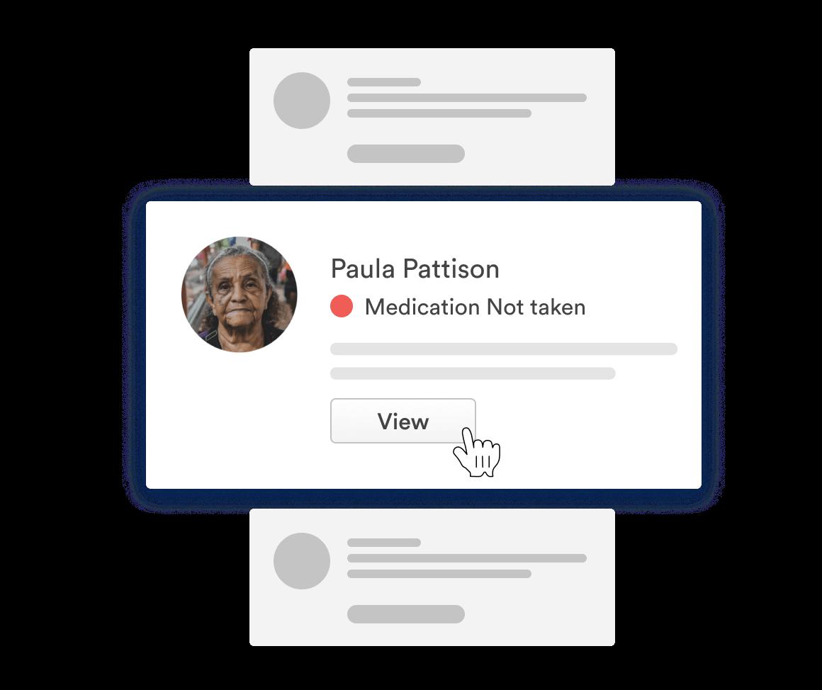 Alert for Paula Pattison showing medication not taken