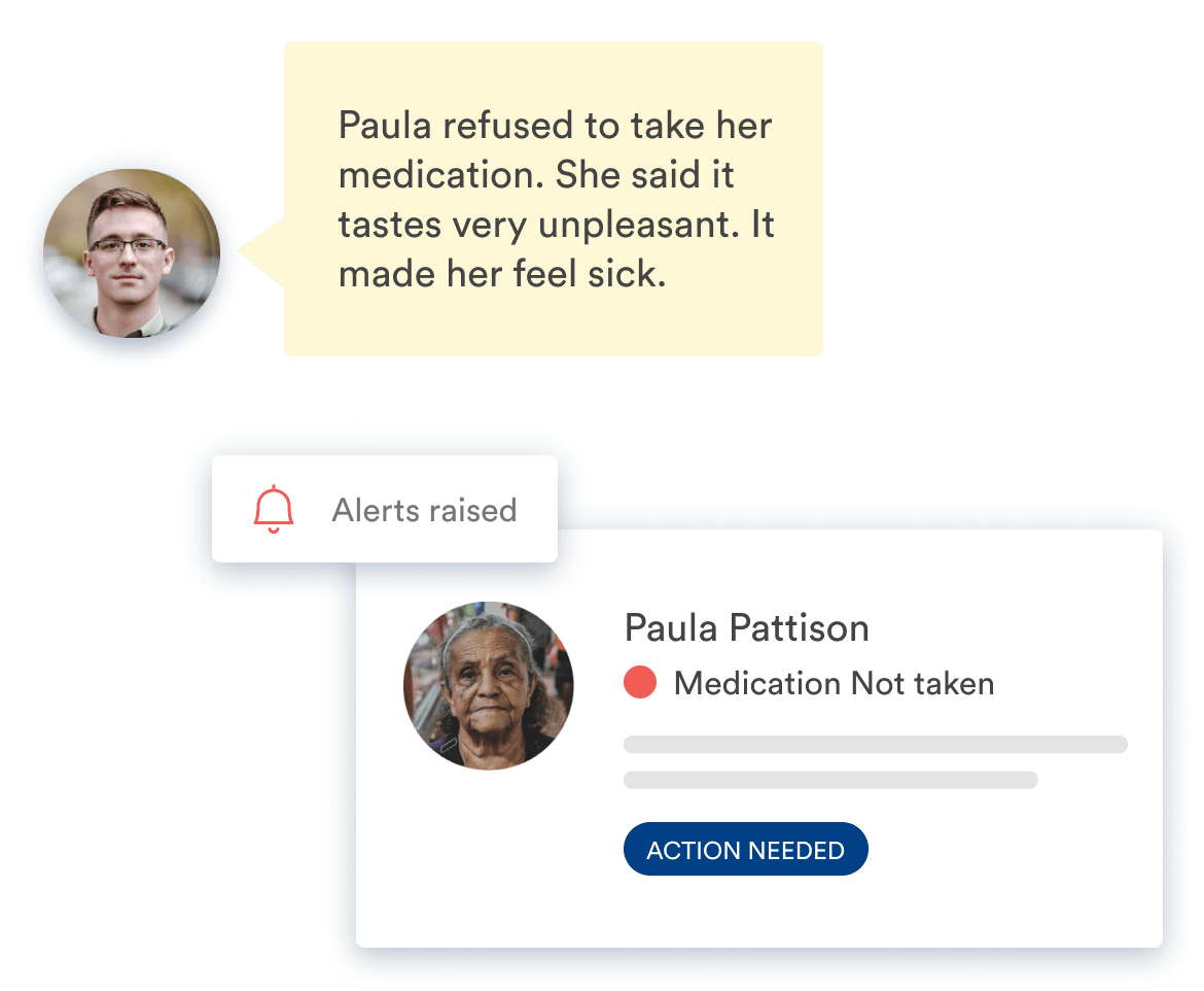 Birdie app screen showing a carer note and explanation for missed medication