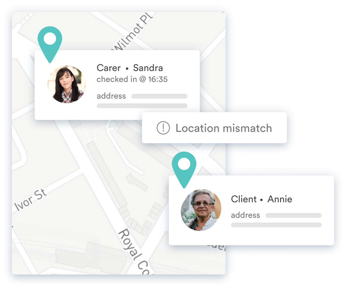Secure GPS check-in showing a location mismatch