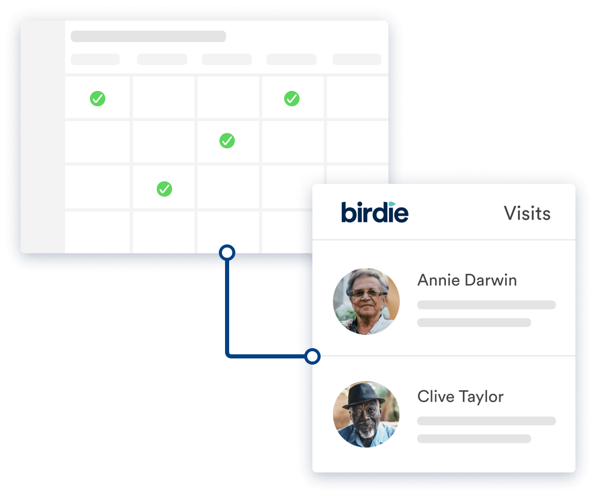 Screens from Birdie showing how Birdie works alongside rostering apps