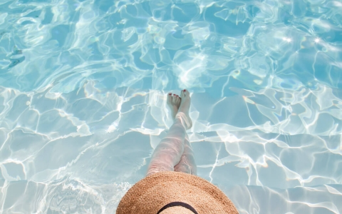 Woman relaxing inside pool