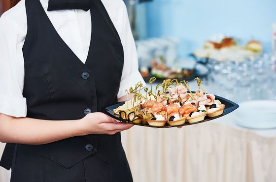 server with hors d'oeuvres
