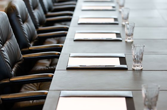 business meeting set up with water glasses