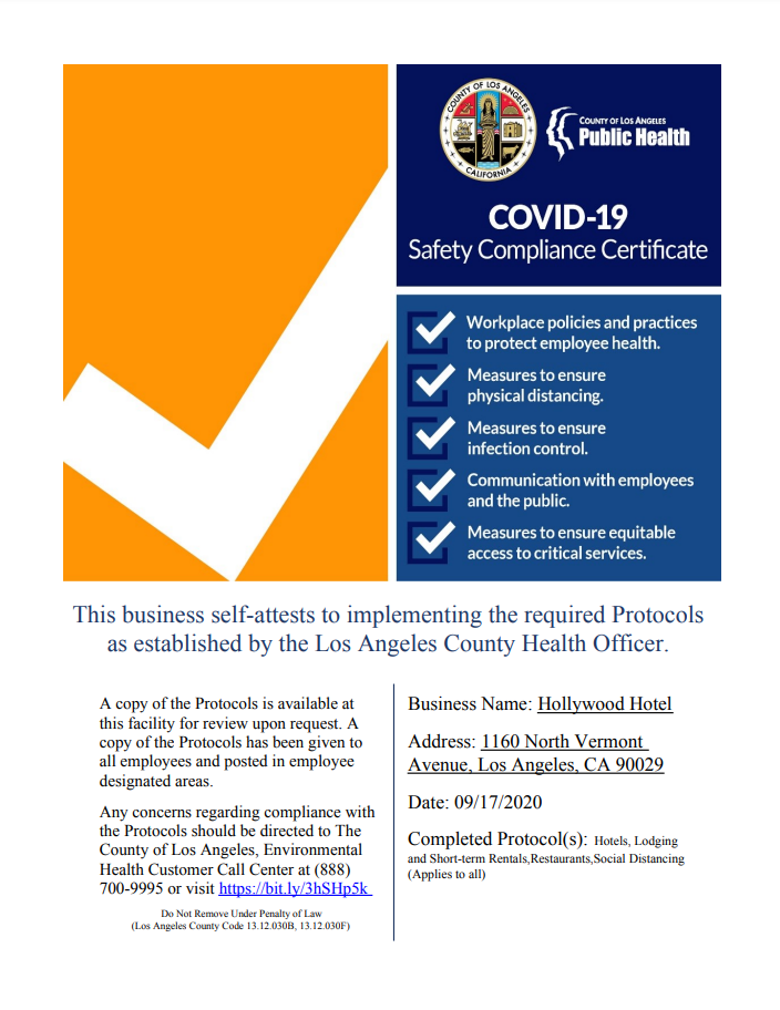 COVID-19 Safety Compliance Certificate