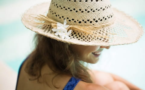 woman in a sun hat