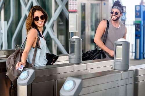couple taking public transportation